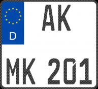 Carbon Motorradkennzeichen-Standard