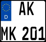 Motorradkennzeichen-Standard